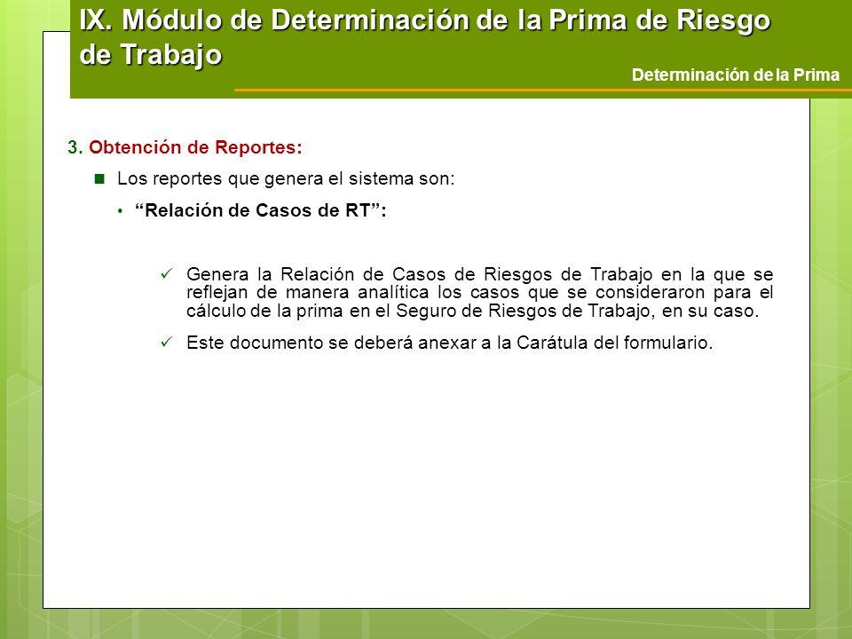 Determinación de la Prima 3. Obtención de Reportes: Los reportes que genera el sistema son: Relación de Casos de RT: Genera la Relación de Casos de Ri