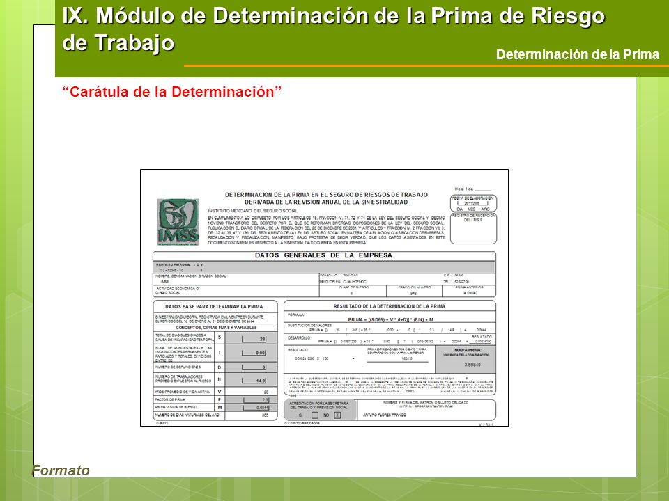 Formato Determinación de la Prima Carátula de la Determinación IX. Módulo de Determinación de la Prima de Riesgo de Trabajo