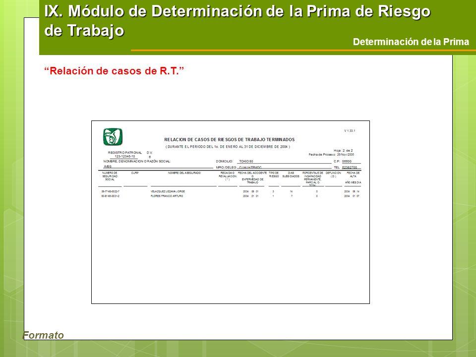 Formato Determinación de la Prima Relación de casos de R.T. IX. Módulo de Determinación de la Prima de Riesgo de Trabajo