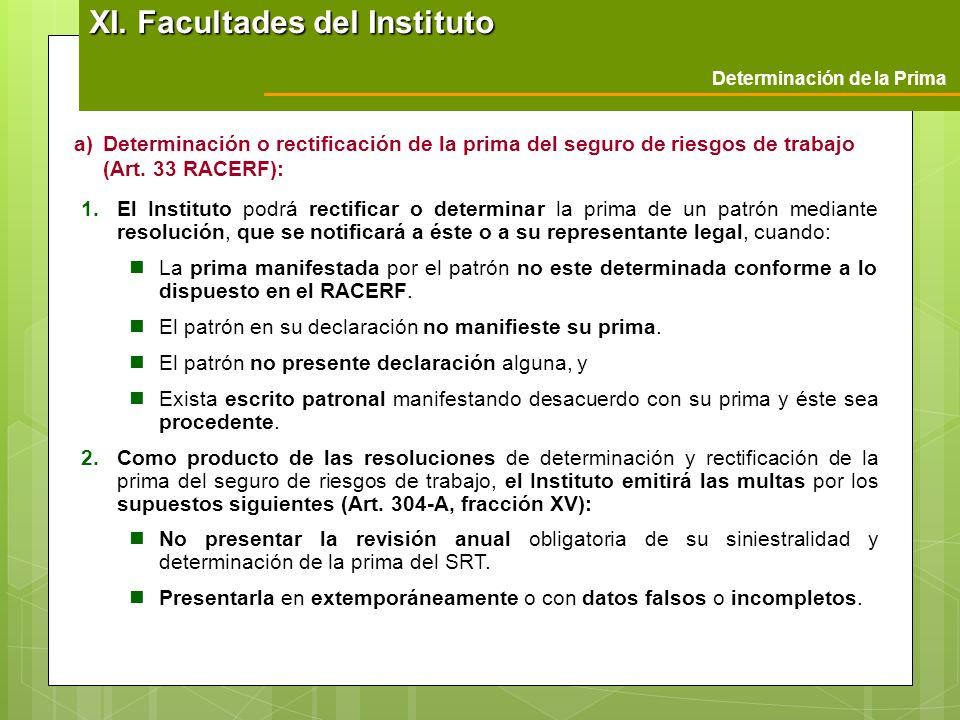 a)Determinación o rectificación de la prima del seguro de riesgos de trabajo (Art. 33 RACERF): 1.El Instituto podrá rectificar o determinar la prima d