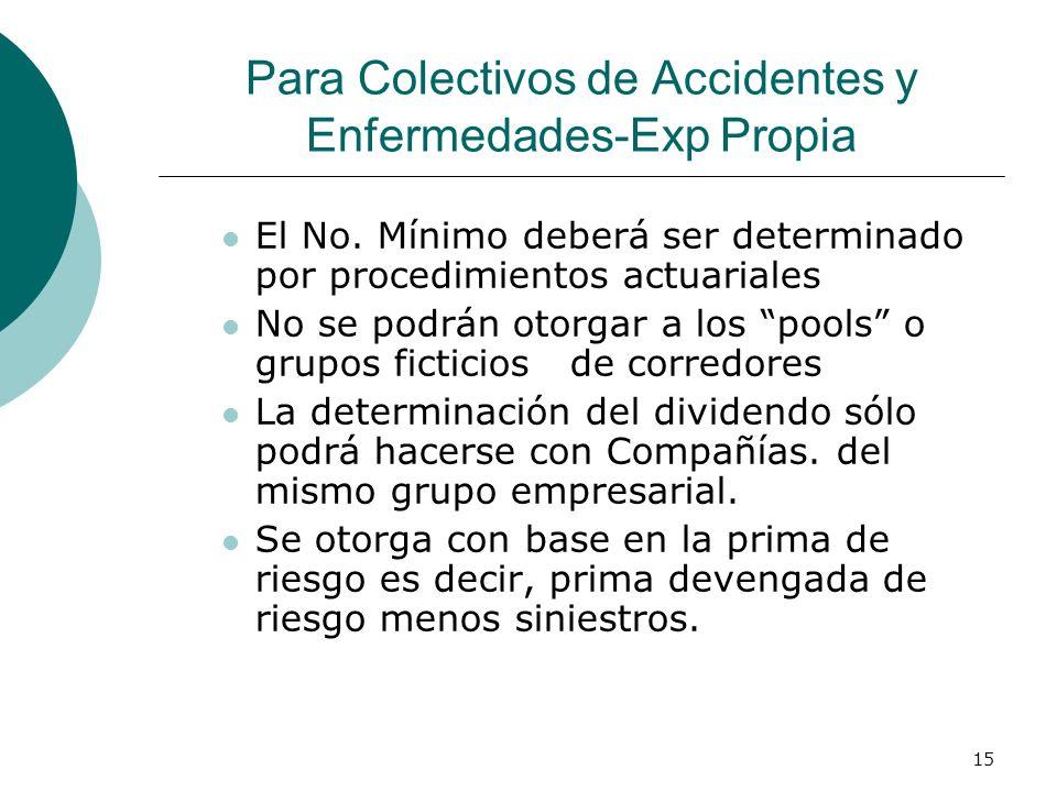 15 Para Colectivos de Accidentes y Enfermedades-Exp Propia El No. Mínimo deberá ser determinado por procedimientos actuariales No se podrán otorgar a