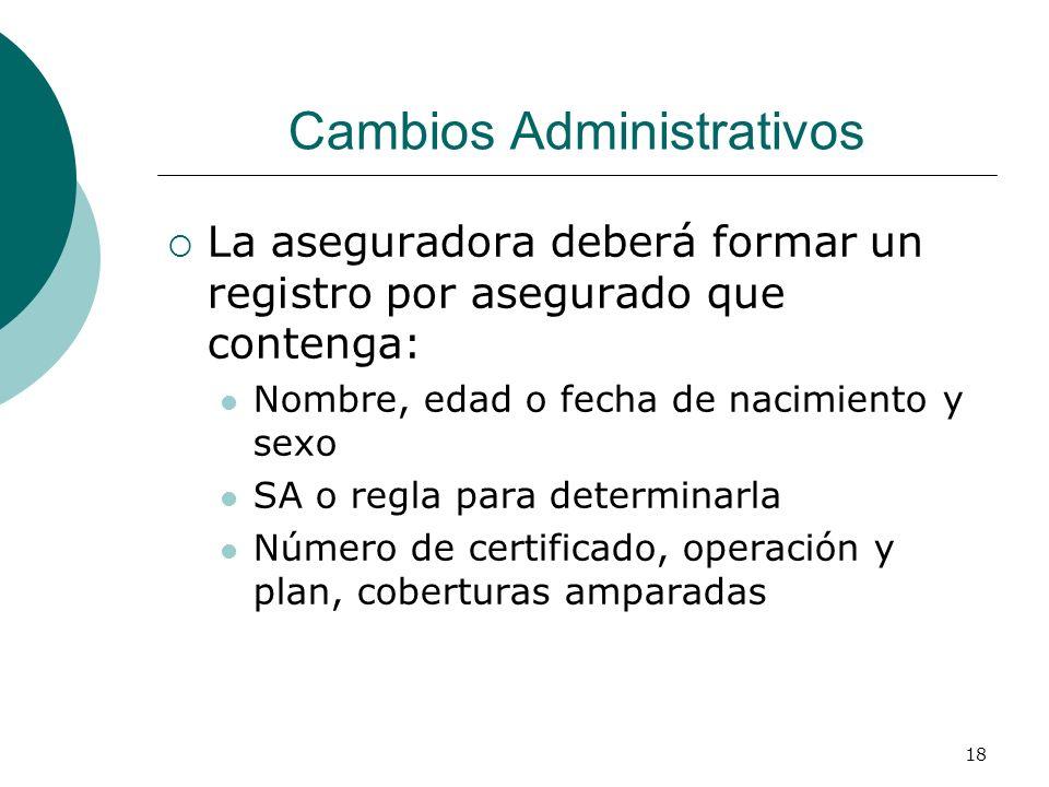 18 Cambios Administrativos La aseguradora deberá formar un registro por asegurado que contenga: Nombre, edad o fecha de nacimiento y sexo SA o regla p