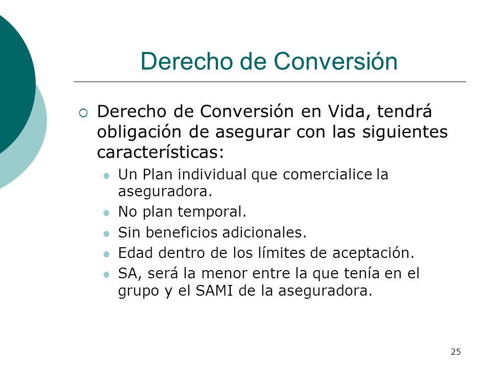 25 Derecho de Conversión Derecho de Conversión en Vida, tendrá obligación de asegurar con las siguientes características: Un Plan individual que comer