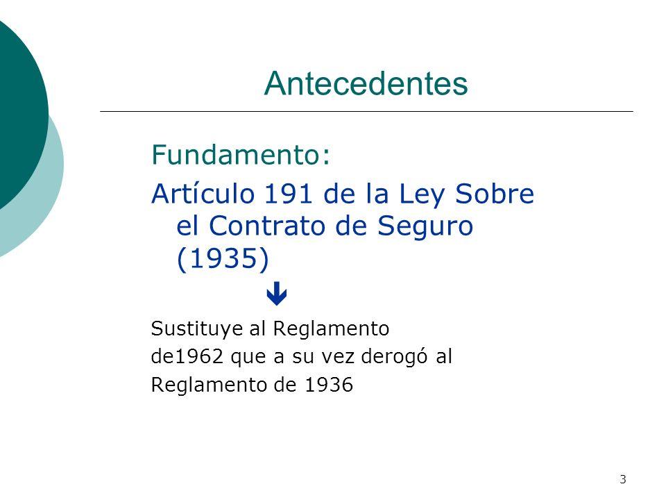 3 Antecedentes Fundamento: Artículo 191 de la Ley Sobre el Contrato de Seguro (1935) Sustituye al Reglamento de1962 que a su vez derogó al Reglamento