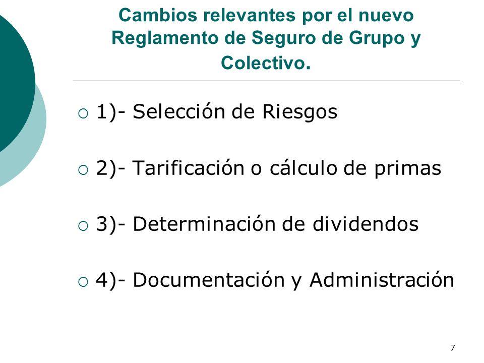 7 Cambios relevantes por el nuevo Reglamento de Seguro de Grupo y Colectivo. 1)- Selección de Riesgos 2)- Tarificación o cálculo de primas 3)- Determi