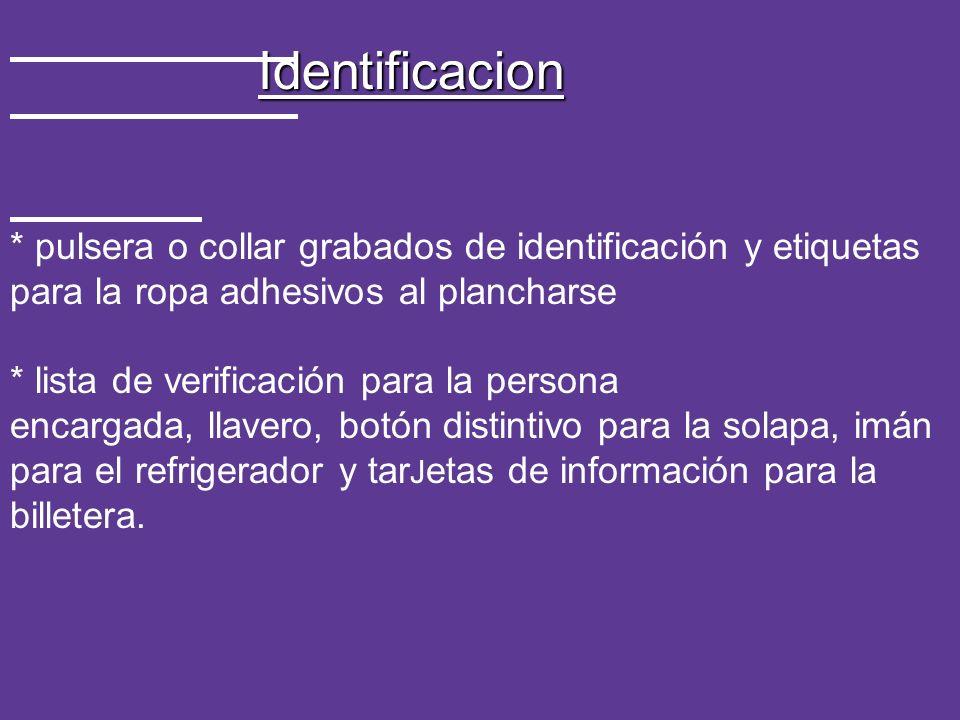 Identificacion * pulsera o collar grabados de identificación y etiquetas para la ropa adhesivos al plancharse * lista de verificación para la persona