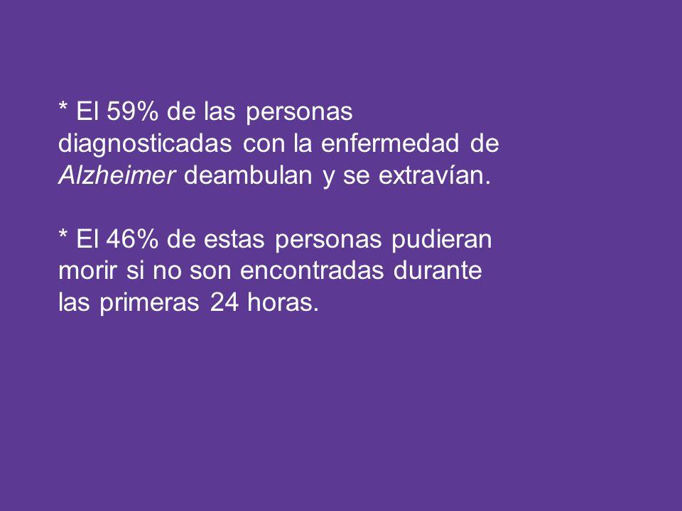 * El 59% de las personas diagnosticadas con la enfermedad de Alzheimer deambulan y se extravían. * El 46% de estas personas pudieran morir si no son e