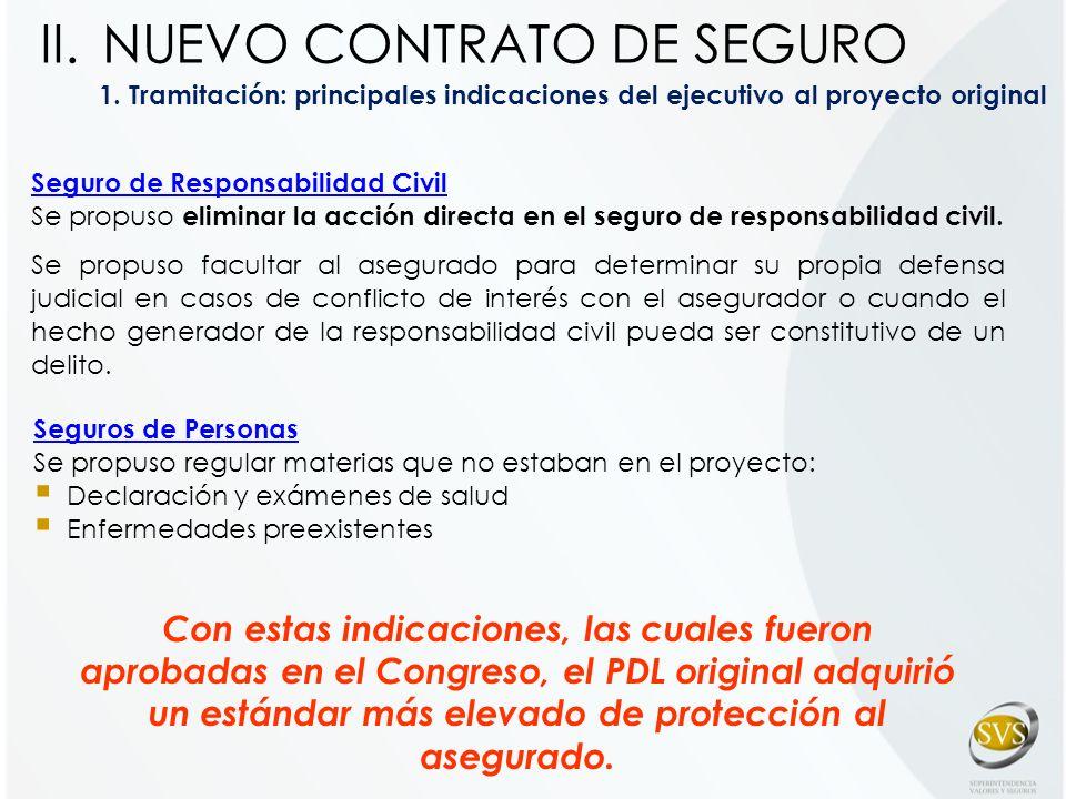1. Tramitación: principales indicaciones del ejecutivo al proyecto original Seguro de Responsabilidad Civil Se propuso eliminar la acción directa en e