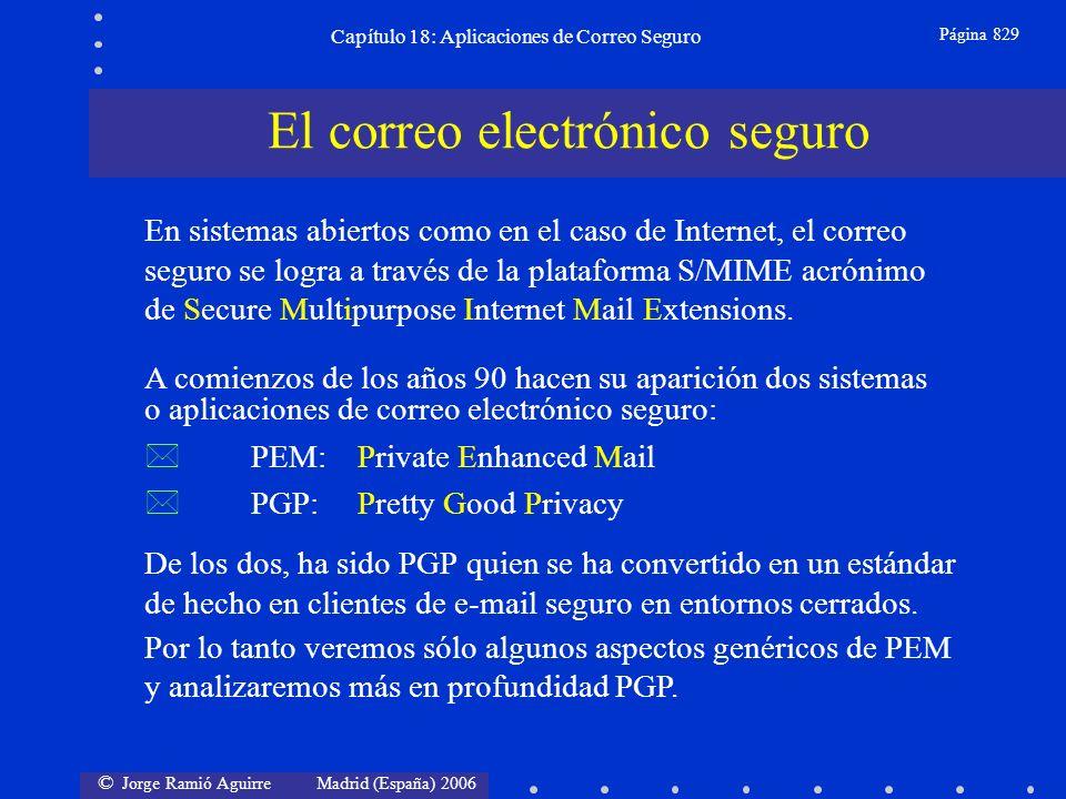 © Jorge Ramió Aguirre Madrid (España) 2006 Capítulo 18: Aplicaciones de Correo Seguro Página 829 De los dos, ha sido PGP quien se ha convertido en un estándar de hecho en clientes de e-mail seguro en entornos cerrados.