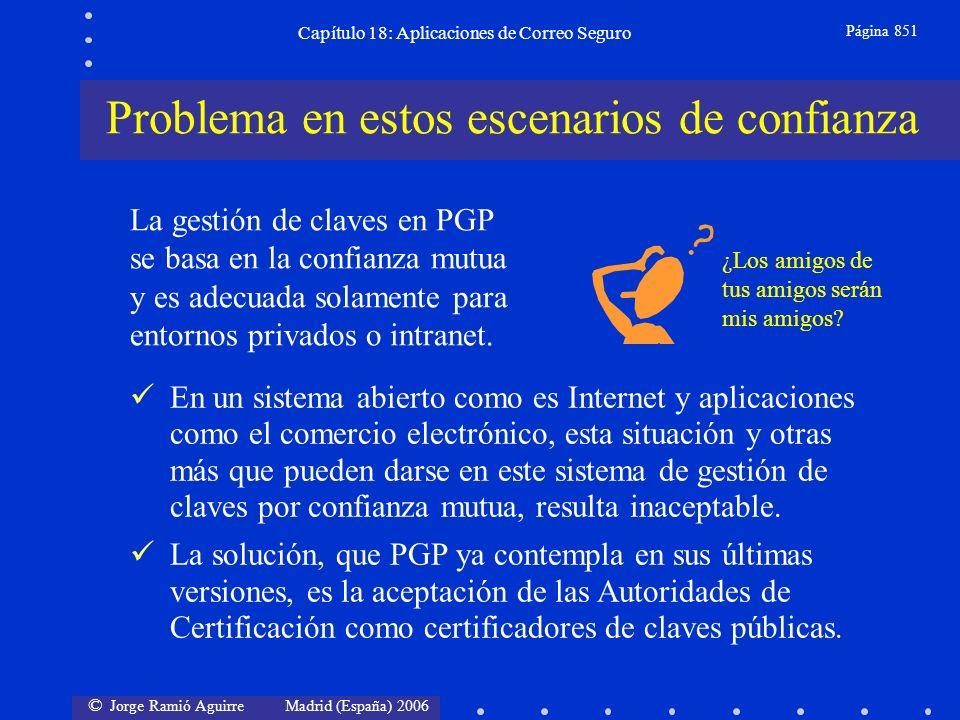 © Jorge Ramió Aguirre Madrid (España) 2006 Capítulo 18: Aplicaciones de Correo Seguro Página 851 En un sistema abierto como es Internet y aplicaciones como el comercio electrónico, esta situación y otras más que pueden darse en este sistema de gestión de claves por confianza mutua, resulta inaceptable.
