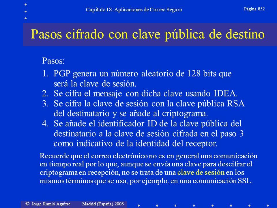 © Jorge Ramió Aguirre Madrid (España) 2006 Capítulo 18: Aplicaciones de Correo Seguro Página 852 Pasos: 1.PGP genera un número aleatorio de 128 bits que será la clave de sesión.