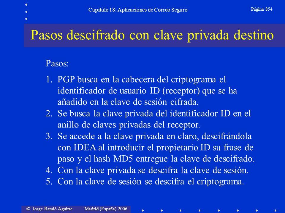 © Jorge Ramió Aguirre Madrid (España) 2006 Capítulo 18: Aplicaciones de Correo Seguro Página 854 Pasos: 1.PGP busca en la cabecera del criptograma el identificador de usuario ID (receptor) que se ha añadido en la clave de sesión cifrada.