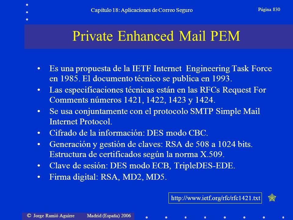 © Jorge Ramió Aguirre Madrid (España) 2006 Capítulo 18: Aplicaciones de Correo Seguro Página 830 Es una propuesta de la IETF Internet Engineering Task Force en 1985.
