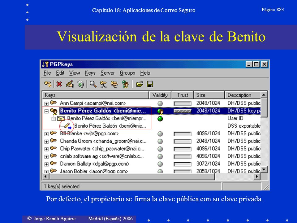 © Jorge Ramió Aguirre Madrid (España) 2006 Capítulo 18: Aplicaciones de Correo Seguro Página 883 Visualización de la clave de Benito Por defecto, el propietario se firma la clave pública con su clave privada.