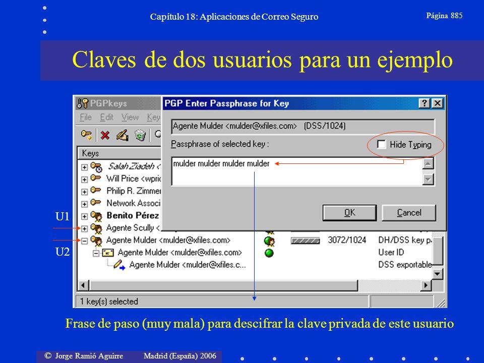 © Jorge Ramió Aguirre Madrid (España) 2006 Capítulo 18: Aplicaciones de Correo Seguro Página 885 Claves de dos usuarios para un ejemplo Frase de paso (muy mala) para descifrar la clave privada de este usuario U1 U2