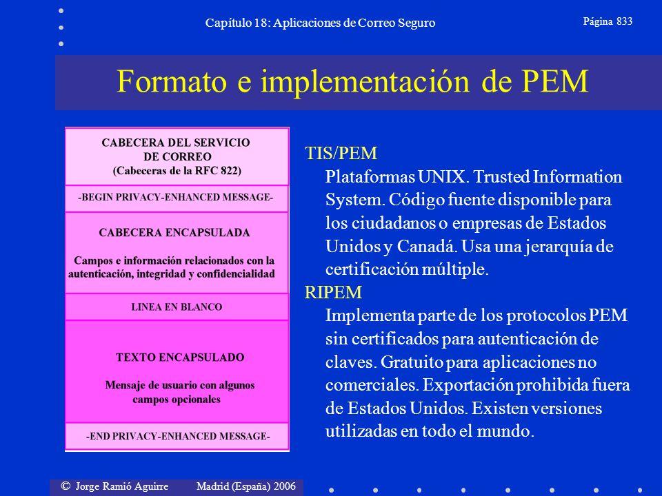 © Jorge Ramió Aguirre Madrid (España) 2006 Capítulo 18: Aplicaciones de Correo Seguro Página 833 TIS/PEM Plataformas UNIX.