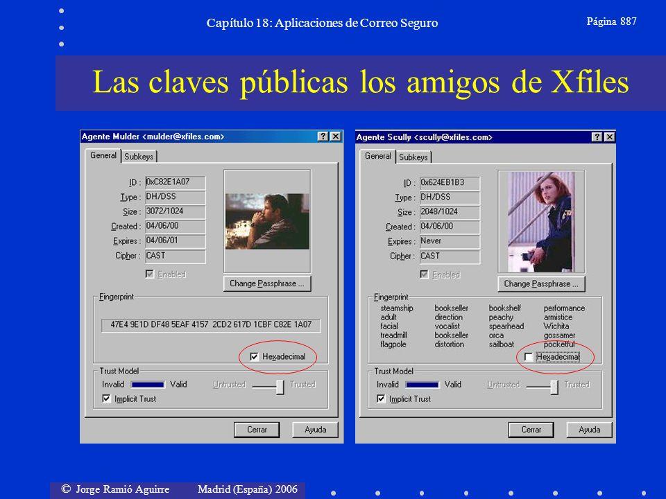 © Jorge Ramió Aguirre Madrid (España) 2006 Capítulo 18: Aplicaciones de Correo Seguro Página 887 Las claves públicas los amigos de Xfiles