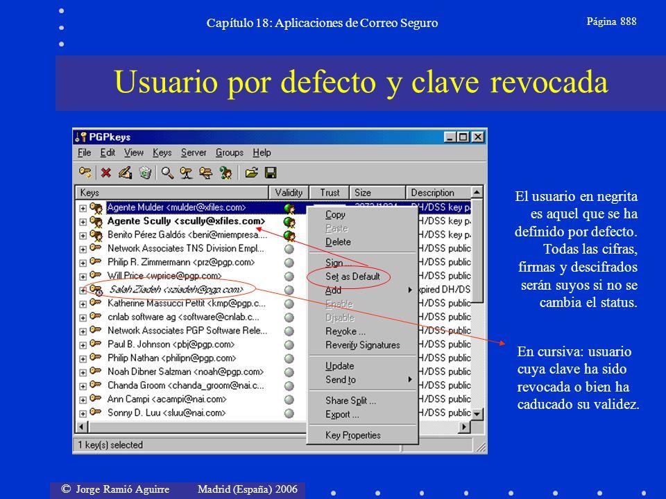 © Jorge Ramió Aguirre Madrid (España) 2006 Capítulo 18: Aplicaciones de Correo Seguro Página 888 Usuario por defecto y clave revocada El usuario en negrita es aquel que se ha definido por defecto.