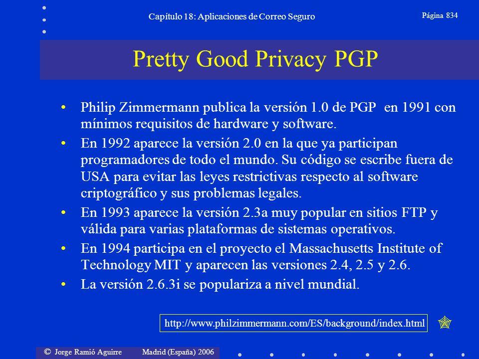 © Jorge Ramió Aguirre Madrid (España) 2006 Capítulo 18: Aplicaciones de Correo Seguro Página 834 Philip Zimmermann publica la versión 1.0 de PGP en 1991 con mínimos requisitos de hardware y software.
