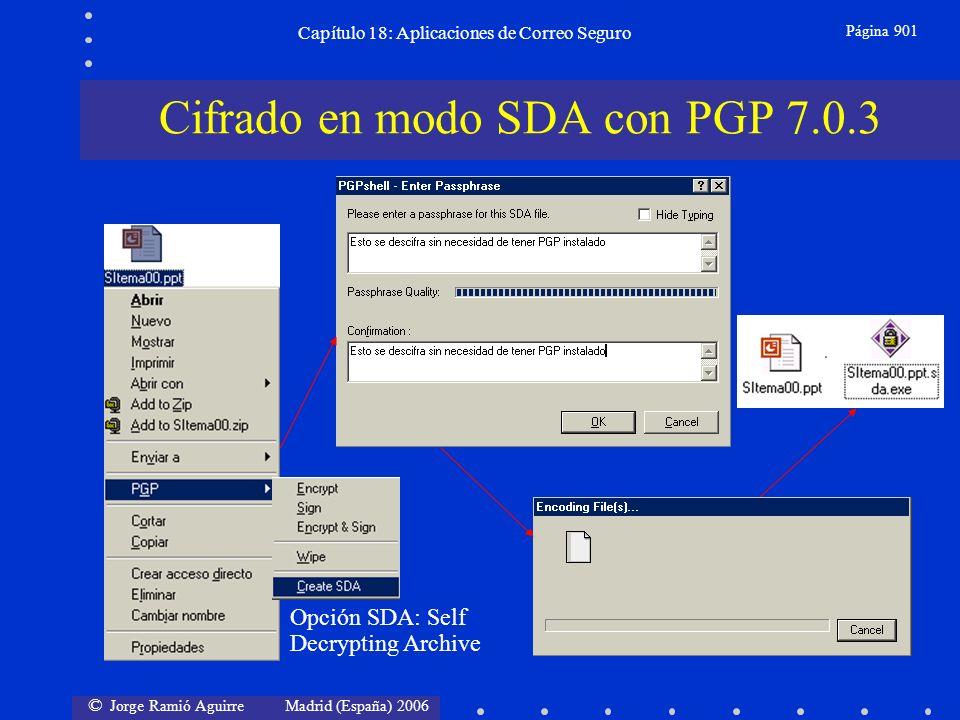 © Jorge Ramió Aguirre Madrid (España) 2006 Capítulo 18: Aplicaciones de Correo Seguro Página 901 Cifrado en modo SDA con PGP 7.0.3 Opción SDA: Self Decrypting Archive