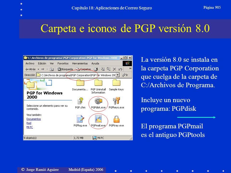 © Jorge Ramió Aguirre Madrid (España) 2006 Capítulo 18: Aplicaciones de Correo Seguro Página 905 Carpeta e iconos de PGP versión 8.0 La versión 8.0 se instala en la carpeta PGP Corporation que cuelga de la carpeta de C:/Archivos de Programa.