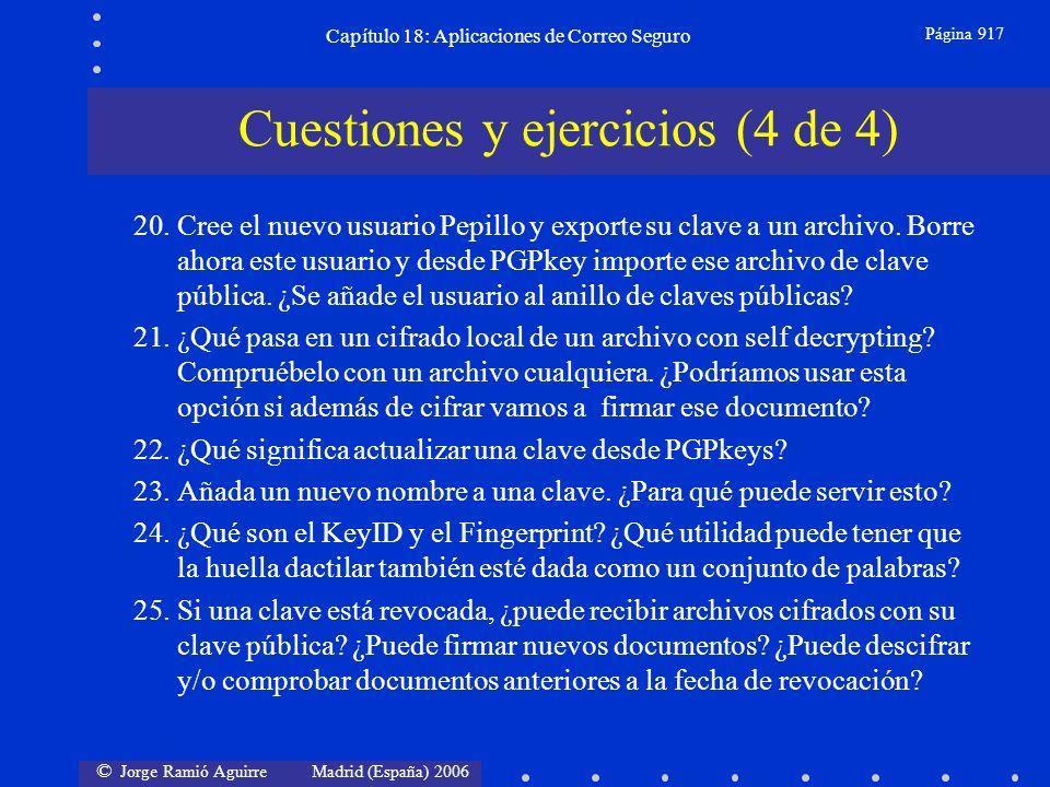 © Jorge Ramió Aguirre Madrid (España) 2006 Capítulo 18: Aplicaciones de Correo Seguro Página 917 Cuestiones y ejercicios (4 de 4) 20.Cree el nuevo usuario Pepillo y exporte su clave a un archivo.