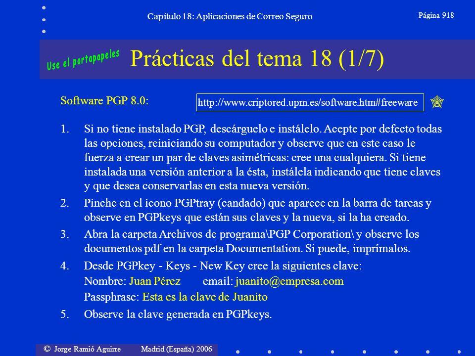 © Jorge Ramió Aguirre Madrid (España) 2006 Capítulo 18: Aplicaciones de Correo Seguro Página 918 Prácticas del tema 18 (1/7) Software PGP 8.0: http://www.criptored.upm.es/software.htm#freeware 1.Si no tiene instalado PGP, descárguelo e instálelo.