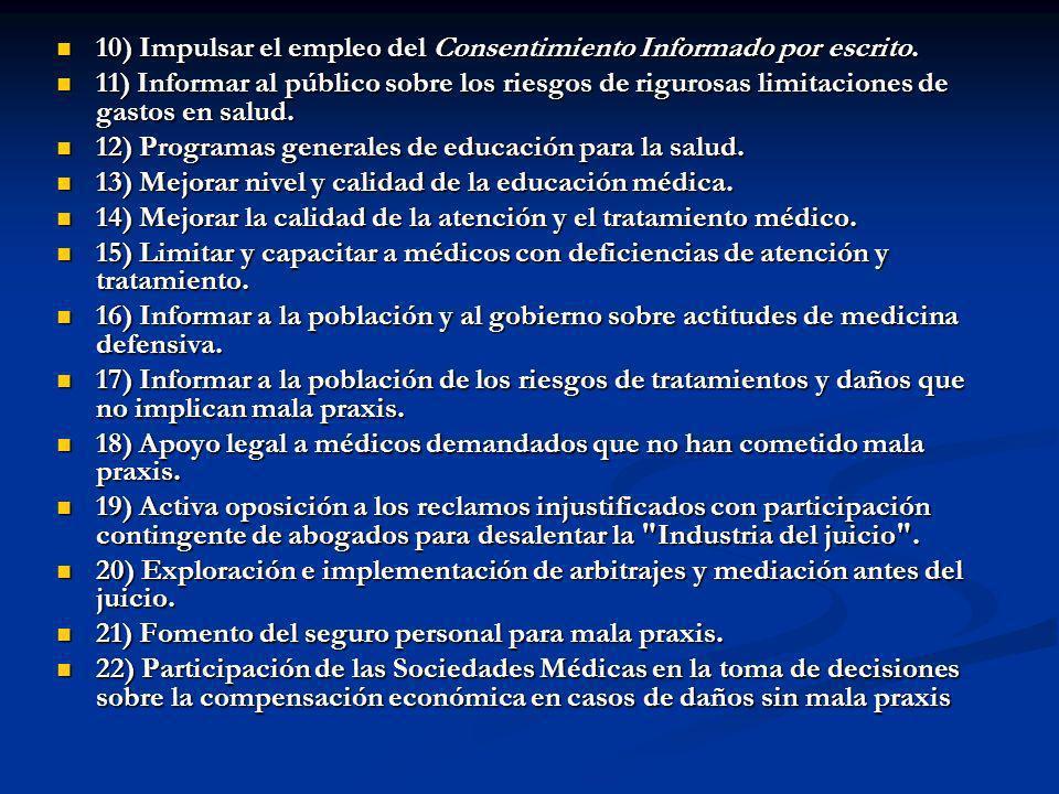 10) Impulsar el empleo del Consentimiento Informado por escrito. 10) Impulsar el empleo del Consentimiento Informado por escrito. 11) Informar al públ