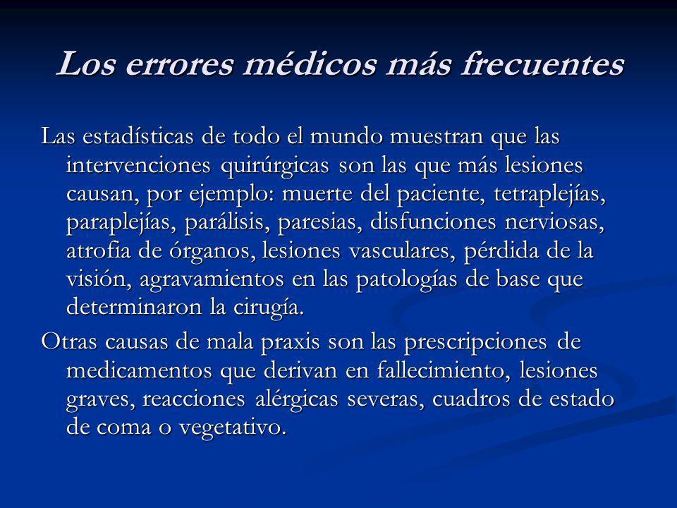 Los errores médicos más frecuentes Las estadísticas de todo el mundo muestran que las intervenciones quirúrgicas son las que más lesiones causan, por