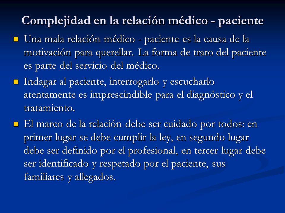 Complejidad en la relación médico - paciente Una mala relación médico - paciente es la causa de la motivación para querellar. La forma de trato del pa