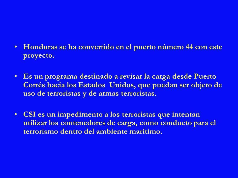La República de Honduras ha tomado las medidas para apoyar la iniciativa del contenedor seguro (CSI), para salvaguardar el comercio marítimo global.