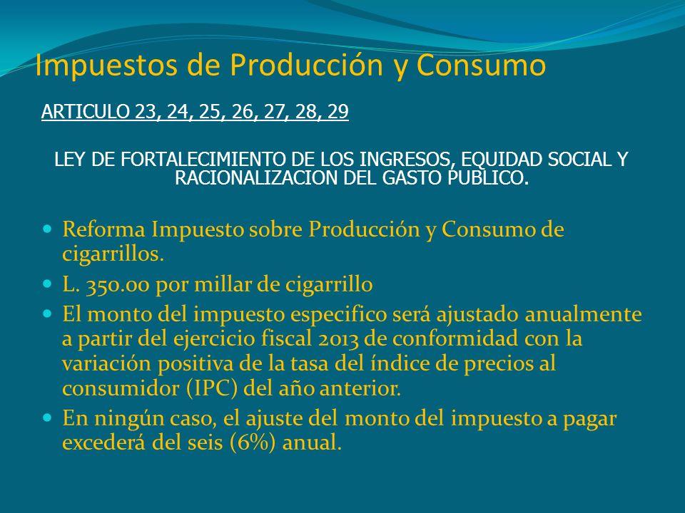 Impuestos de Producción y Consumo ARTICULO 23, 24, 25, 26, 27, 28, 29 LEY DE FORTALECIMIENTO DE LOS INGRESOS, EQUIDAD SOCIAL Y RACIONALIZACION DEL GAS