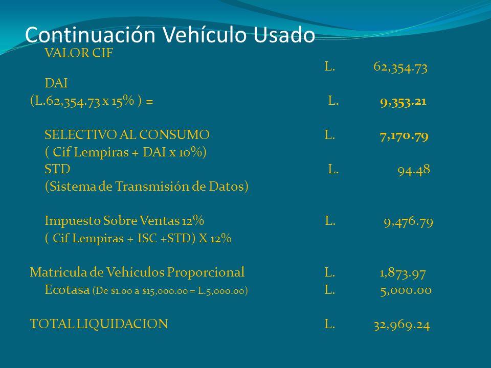 Continuación Vehículo Usado VALOR CIF L.62,354.73 DAI (L.62,354.73 x 15% ) = L. 9,353.21 SELECTIVO AL CONSUMO L. 7,170.79 ( Cif Lempiras + DAI x 10%)