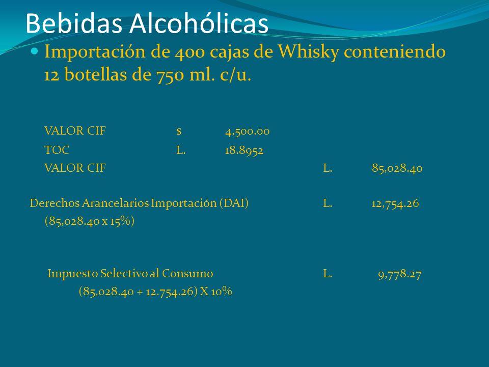 Bebidas Alcohólicas Importación de 400 cajas de Whisky conteniendo 12 botellas de 750 ml. c/u. VALOR CIF$ 4,500.00 TOCL.18.8952 VALOR CIFL.85,028.40 D