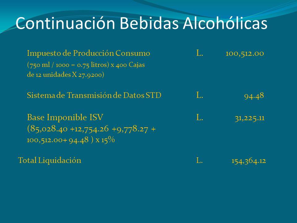 Continuación Bebidas Alcohólicas Impuesto de Producción Consumo L.100,512.00 (750 ml / 1000 = 0.75 litros) x 400 Cajas de 12 unidades X 27.9200) Siste