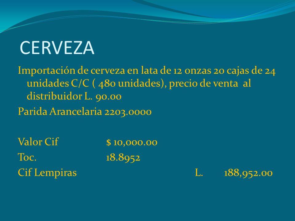 CERVEZA Importación de cerveza en lata de 12 onzas 20 cajas de 24 unidades C/C ( 480 unidades), precio de venta al distribuidor L. 90.00 Parida Arance