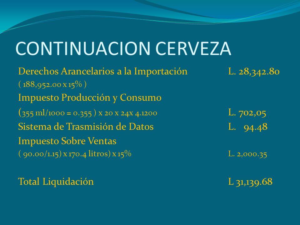 CONTINUACION CERVEZA Derechos Arancelarios a la Importación L. 28,342.80 ( 188,952.00 x 15% ) Impuesto Producción y Consumo ( 355 ml/1000 = 0.355 ) x