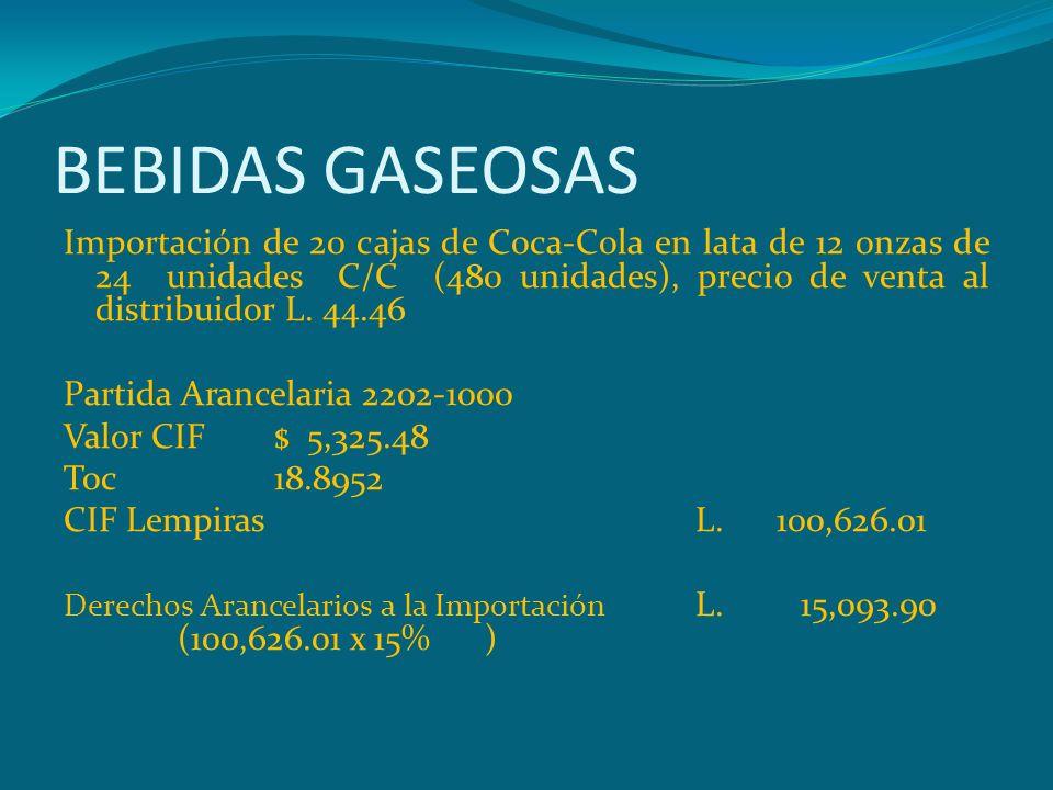 BEBIDAS GASEOSAS Importación de 20 cajas de Coca-Cola en lata de 12 onzas de 24 unidades C/C (480 unidades), precio de venta al distribuidor L. 44.46