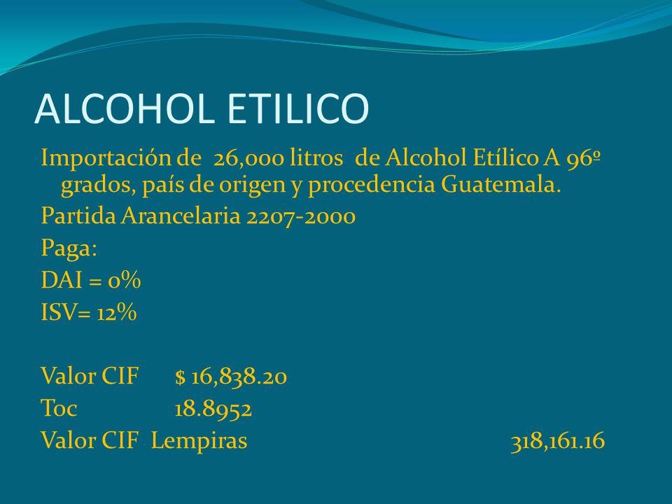 ALCOHOL ETILICO Importación de 26,000 litros de Alcohol Etílico A 96º grados, país de origen y procedencia Guatemala. Partida Arancelaria 2207-2000 Pa
