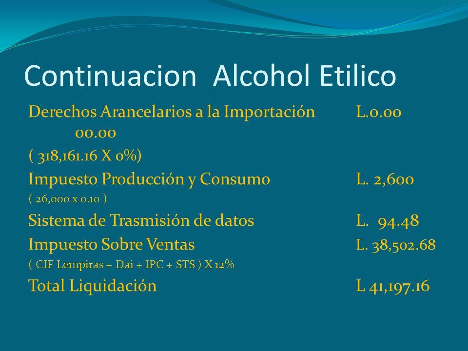 Continuacion Alcohol Etilico Derechos Arancelarios a la ImportaciónL.0.00 00.00 ( 318,161.16 X 0%) Impuesto Producción y ConsumoL. 2,600 ( 26,000 x 0.