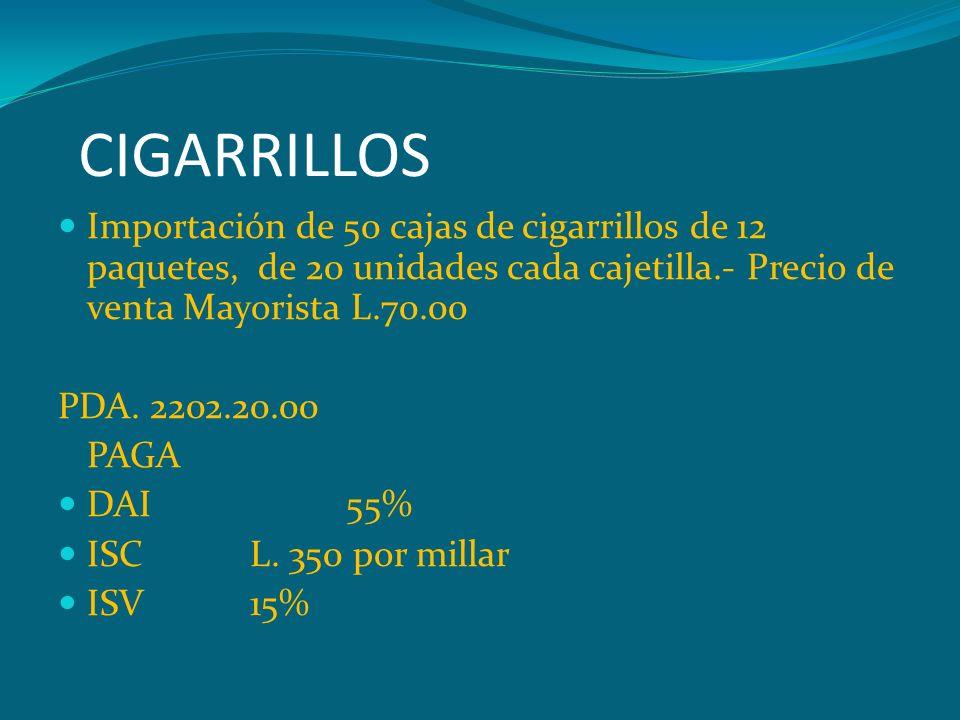 CIGARRILLOS Importación de 50 cajas de cigarrillos de 12 paquetes, de 20 unidades cada cajetilla.- Precio de venta Mayorista L.70.00 PDA. 2202.20.00 P