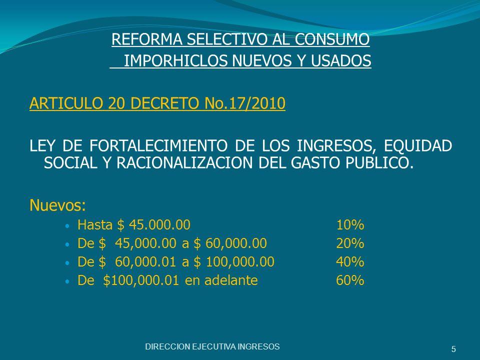 REFORMA SELECTIVO AL CONSUMO IMPORHICLOS NUEVOS Y USADOS ARTICULO 20 DECRETO No.17/2010 LEY DE FORTALECIMIENTO DE LOS INGRESOS, EQUIDAD SOCIAL Y RACIO