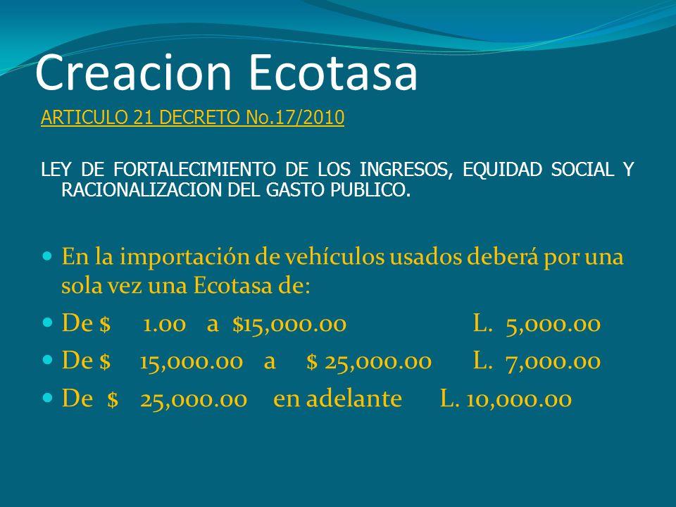 Creacion Ecotasa ARTICULO 21 DECRETO No.17/2010 LEY DE FORTALECIMIENTO DE LOS INGRESOS, EQUIDAD SOCIAL Y RACIONALIZACION DEL GASTO PUBLICO. En la impo