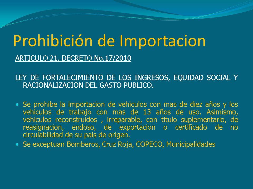 Prohibición de Importacion ARTICULO 21. DECRETO No.17/2010 LEY DE FORTALECIMIENTO DE LOS INGRESOS, EQUIDAD SOCIAL Y RACIONALIZACION DEL GASTO PUBLICO.