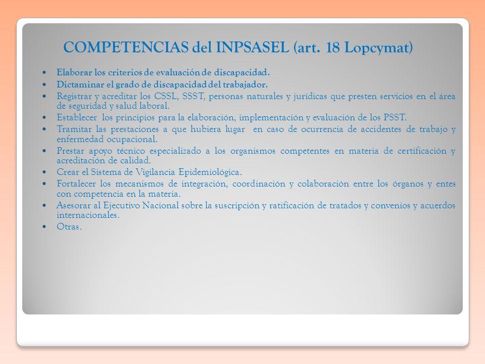 COMPETENCIAS del INPSASEL (art. 18 Lopcymat) Elaborar los criterios de evaluación de discapacidad. Dictaminar el grado de discapacidad del trabajador.