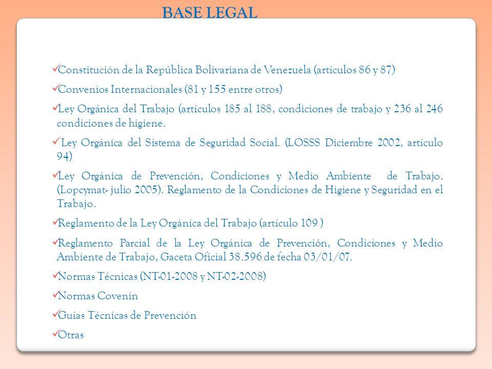 Constitución de la República Bolivariana de Venezuela (artículos 86 y 87) Convenios Internacionales (81 y 155 entre otros) Ley Orgánica del Trabajo (a