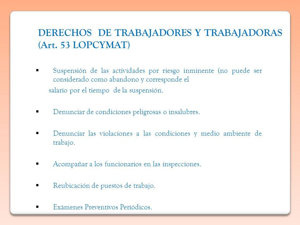 DERECHOS DE TRABAJADORES Y TRABAJADORAS (Art. 53 LOPCYMAT) Suspensión de las actividades por riesgo inminente (no puede ser considerado como abandono
