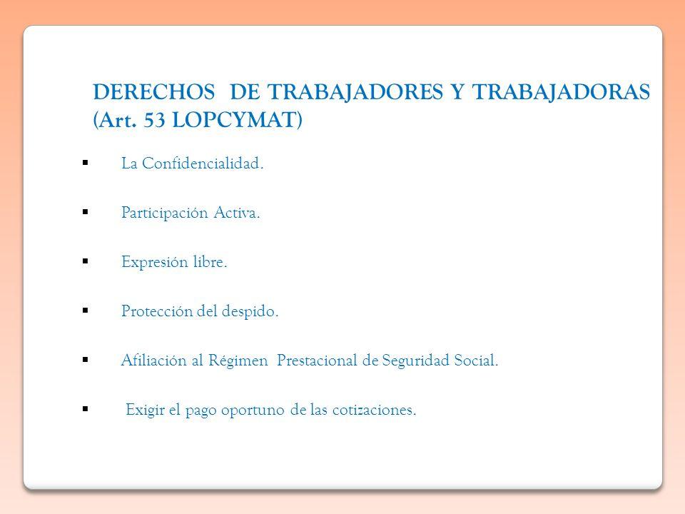DERECHOS DE TRABAJADORES Y TRABAJADORAS (Art. 53 LOPCYMAT) La Confidencialidad. Participación Activa. Expresión libre. Protección del despido. Afiliac