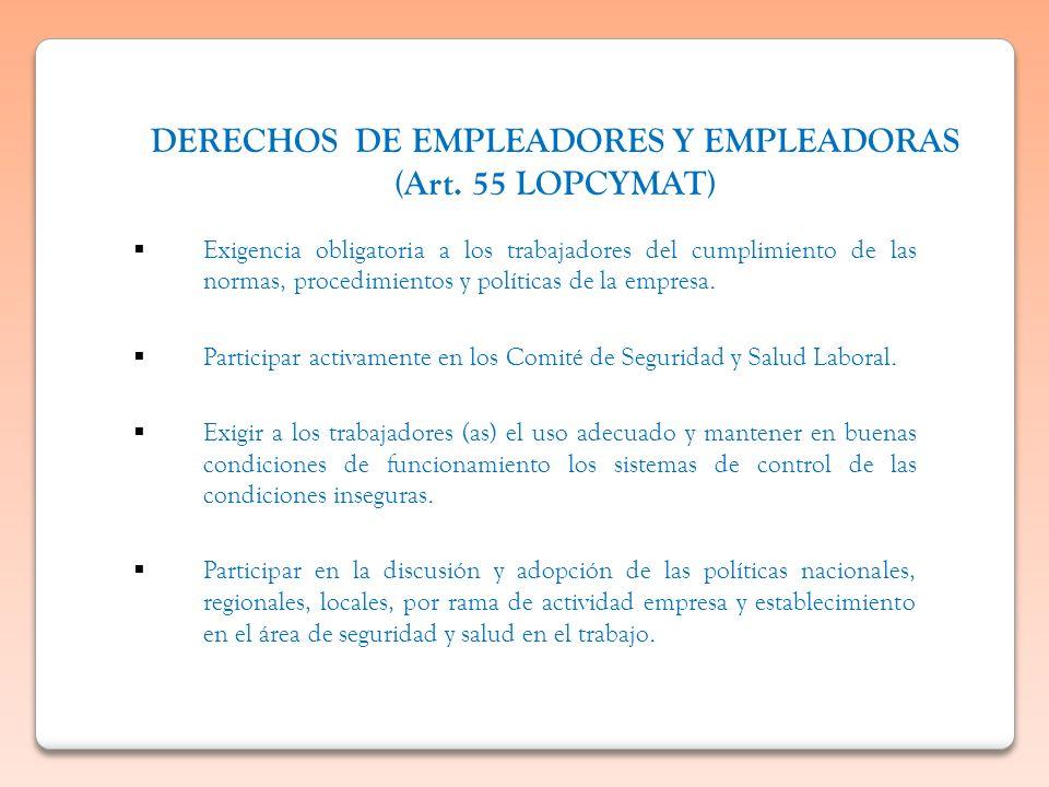 DERECHOS DE EMPLEADORES Y EMPLEADORAS (Art. 55 LOPCYMAT) Exigencia obligatoria a los trabajadores del cumplimiento de las normas, procedimientos y pol