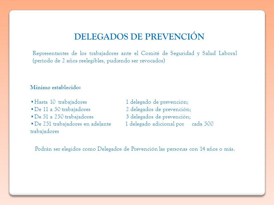 DELEGADOS DE PREVENCIÓN Representantes de los trabajadores ante el Comité de Seguridad y Salud Laboral (período de 2 años reelegibles, pudiendo ser re